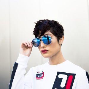 Accessories - Blue Mirrored Cut-Out Frame Aviator Sunglasses